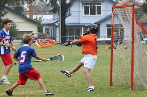 He shoots, he scores! U12s in action at Moreland Lacrosse Club