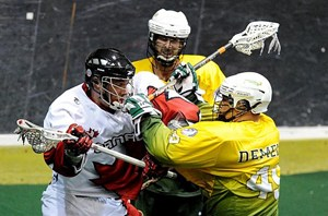 Australia's Wade Hammond and Chris De Mello take on team Canada in the 2011 World Indoor Championships in Prague
